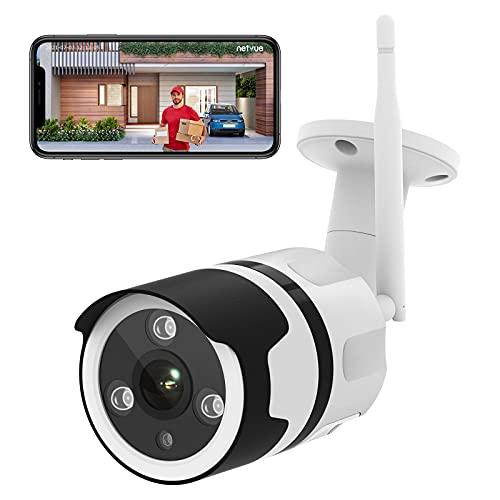 Netvue WLAN Überwachungskamera Aussen, 1080P WLAN IP Kamera Outdoor mit IP66 Wasserdicht, Außen Alexa IP Kamera mit Nachtsicht, 2-Wege-Audio, Bewegungserkennung, Unterstützt bis zu 128G SD-Karte