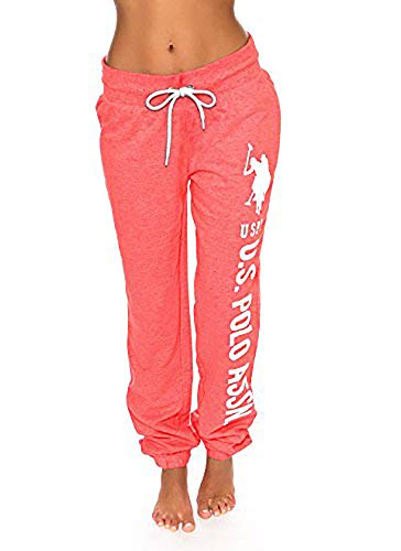 U.S. Polo Assn. Essentials Womens Printed French Terry Boyfriend Jogger Sweatpants Coral Heather Small