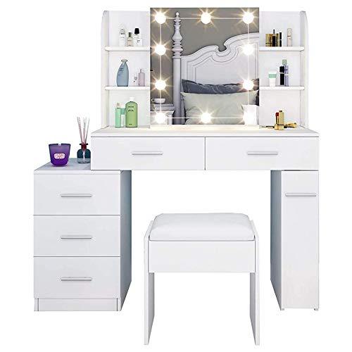 Zuoao Moderne Minimalistische Kommode Mit Fünf Schubladen Mit Waschtischlampe, Einem Spiegel Mit Schiebetisch Und Hockern, Schlafzimmerkommode,White