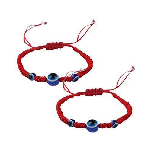Hellyy - Braccialetto intrecciato con occhio, in tessuto, regolabile, tessuto a mano, per adulti e bambini, 2 pezzi, colore: rosso