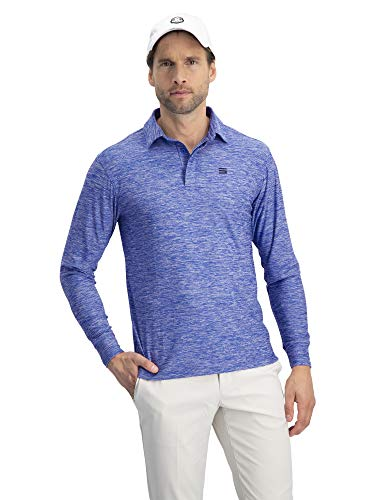 Three Sixty Six Men's Dry Fit Long Sleeve Polo Golf Shirt, Moisture Wicking, UPF 30 and 4 Way Stretch Cool Blue