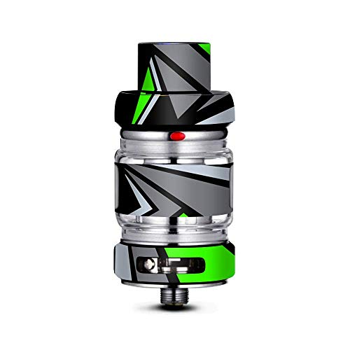 IT'S A SKIN Decal Vinyl Wrap Compatible with FreeMax Mesh Pro Tank/Tripy Triangle Pattern Green Grey