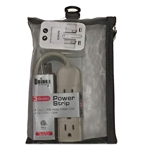 Best International Universal World Outlet Adapter Wall Charger Plug w/Mini Power Strip for USA EU UK AUS European w/Silver Grey Mesh Zipper Travel Pouch Bag Gift Set