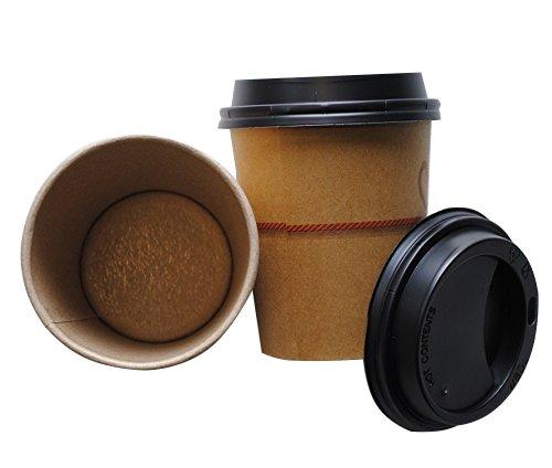 200vasos de cartón Kraft Avana, de 25cl + tapa con boquilla blanca o negra para mantener el calor, para capuchino, vino caliente, café y otras bebidas calientes