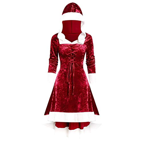 Kobay-Damen Langarm-Patchwork mit Kapuze Retro-Kleid Partykleid Herbst und Winter Retro-Plüsch Nähte Retro-Kleid Abendkleid (EU 38 (L), 3-Rot)