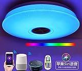 Luz de techo WiFi con Alexa Echo y Google, 24W, 95V-265V, Lámpara LED de techo inalámbrica con altavoz Bluetooth, aplicación para teléfono inteligente regulable