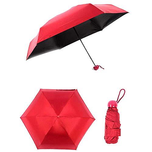 AXB Mini Paraguas Compacto, Paraguas de la cápsula Mini Travel Sun y Paraguas de Lluvia con Linda Caja de cápsulas,Rojo