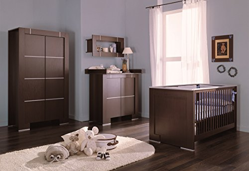 Babyzimmer Kinderzimmer NEW GENERATION Wenge Silber, Babymöbel Set 4tlg komplett Kleiderschrank 2-türig Babybett Wickelkommode Wandregal