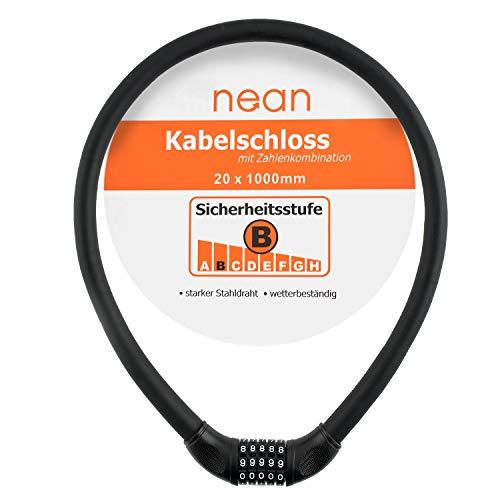 nean Fahrrad-Kabel-Zahlen-Schloss, Zahlen-Code-Kombination-Schloss, extra dick, Softtouchoberfläche, schwarz, 20 x 1000 mm,