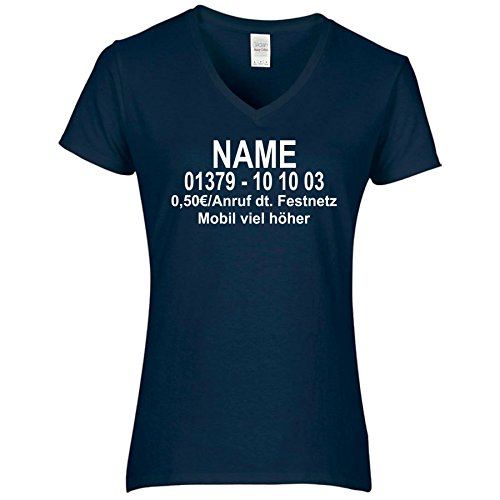 Damen V-Ausschnitt T-Shirt Dschungel Camp Wunschname Wunschnummer DSCHUNGELCAMP (L, Dunkelblau/Druck Vorne)
