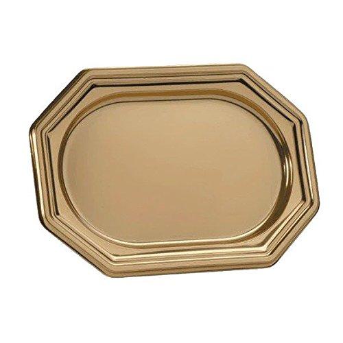 3 Plats traiteur doré octogonal 27 x 19 cm - Taille Unique