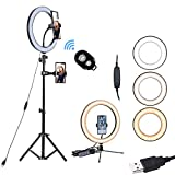 """10"""" Led Ring Light with Stand and Phone Holder,Mini Selfie Ring Light Circle with Remote Control, 3 Light Modes and 10 Brightness Levels for Makeup, Photography, Live Streaming, Vlog SXIYA"""