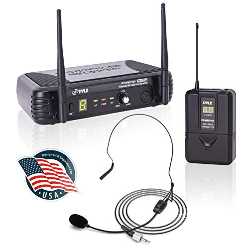 Pyle 8-Channel Wireless Microphone System - Portable UHF Digital Audio Mic Set with Headset, clip Lavalier lapel, Transmitter, ¼'' cable, power adapter - For Karaoke, PA, DJ - PDWM1904