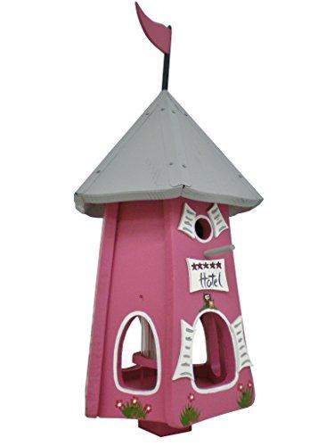 Die Vogelvilla, Turmhotel 5 Sterne Eulen, Vogelhaus & Nistkasten, 2in1, himbeer