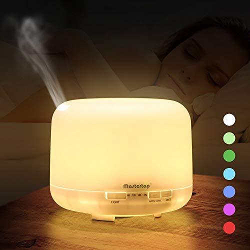 MASTERTOP 500ml Luftbefeuchter Aroma Diffuser für ätherische öle, Automatische Air Humidifier Leise, Raumbefeuchter mit 7 Farben LED-Nachtlicht Timing für Schlafzimmer, Büro