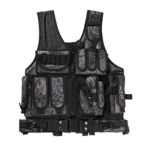 Jipemtra Tactical MOLLE Military Style Vest Adjustable Training Vest Detachable for Hunting Mountaineering Outdoors (Python Black)