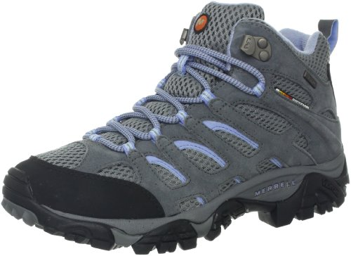 Merrell Women's Moab Mid Waterproof Hiking Boot,Grey/Periwinkle,8.5 M US
