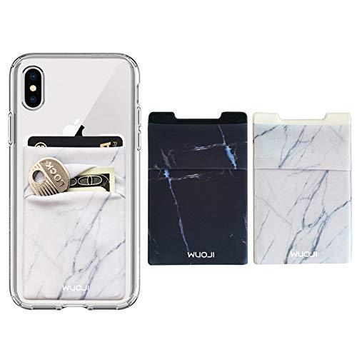 WUOJI Double Pocket Phone Wallet - Klebekartenhalter - Handy Etui mit RFID-Kartenhalter -Kreditkarten und Bargeld tragen -Marble/2PC