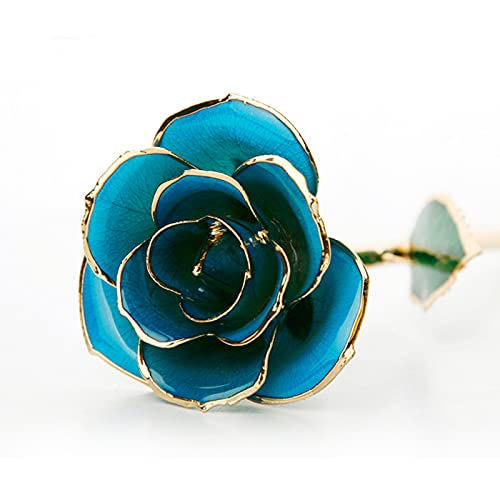 5665 Flor de Rosa de Oro de 24 K para San Valentín Lámina de Oro Artificial Rosa para Siempre con Soporte Transparente y Caja de Regalo, Día de La Madre