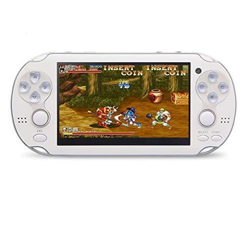 JXD 4.3 pollici 8GB doppio joystick console di gioco portatile costruito in 1200 giochi console di gioco console di gioco arcade/neogeo/cps/FC/SFC/GB/GBC/GBA/SMC/SMD/SEGA Giochi MP4 Player (Bianco)