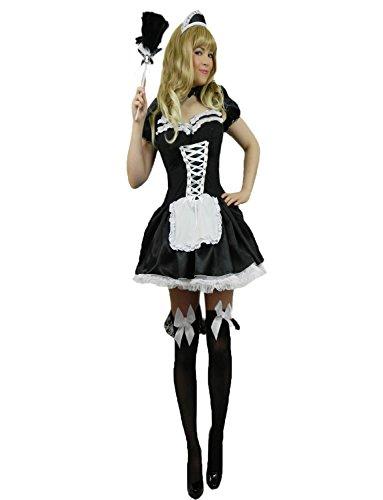 Yummy Bee - Disfraz Criada Francesa - Disfraz Sirvienta Sexy - Fiestas de Disfraces Mujer - Rocky Horror Show con Plumero - Talla Grande(Mujer: 42-44)