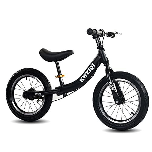 """Bicicleta Sin Pedales First Bike De 14 \""""Con Frenos Para Niñas Y Niños De 3 A 7 Años, Bicicleta De Equilibrio Sin Pedales, Marco De Acero Al Carbono, Manillar Y Sillín Ajustables, Hasta 50 Kg,Negro"""