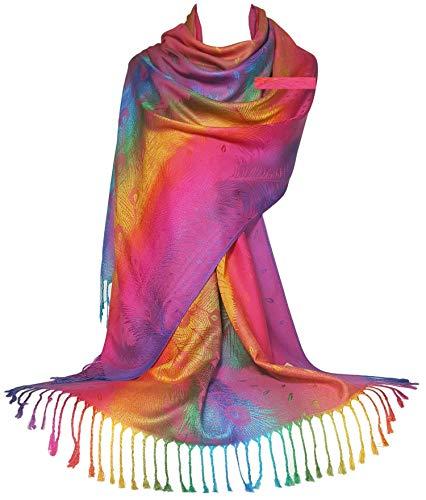 GFM Zijdeachtige Voel Regenboog Pashmina Stijl Sjaal in Paisley Of Bloemen