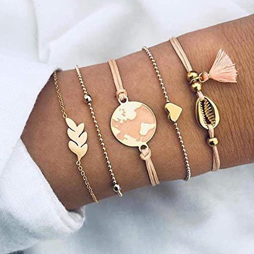Branets - Juego de pulseras en capas de estilo bohemio, pulsera de borlas doradas con concha, corazón de amor, cadena de mano, joyería ajustable para mujeres y niñas (5 piezas)