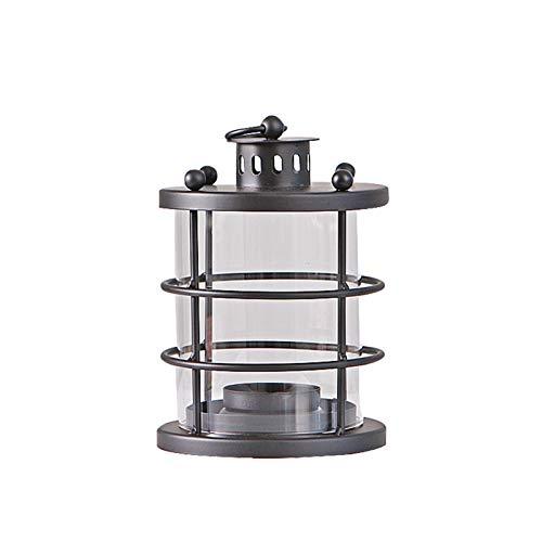 NIBABA Table Decoration Viento Linterna decoración keroseno lámpara artesanía Estilo Europeo Colgando Retro Vidrio Vela de la Vela decoración for Birthday Party (Color : Black, Size : 15x15x21cm)