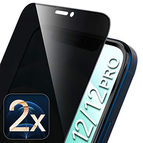 UTECTION 2X Full Screen Privacy Sichtschutzfolie für iPhone 12, iPhone 12 PRO - Perfekte Anbringung Dank Rahmen, Schutzglas Anti-Spion 9H Glas - Kompletter Schutz Vorne - Folie Schutzfolie Vollglas