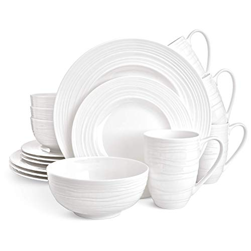 Divitis Home Infinity Bone China Dinnerware Set 16pcs (Soup Bowls, Dinner Plates, Salad Plates, Mugs), Plates and Bowls Sets, Dishes Dinnerware Sets, Dinnerware Set, White Plates