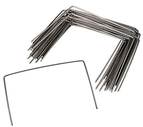 Windhager Metall-Hering gerippt, Erdanker, Bodenanker, Befestigungsanker, Befestigungshering, 20 x 25cm, Ø 4mm, 100 Stück, 07092, Silber