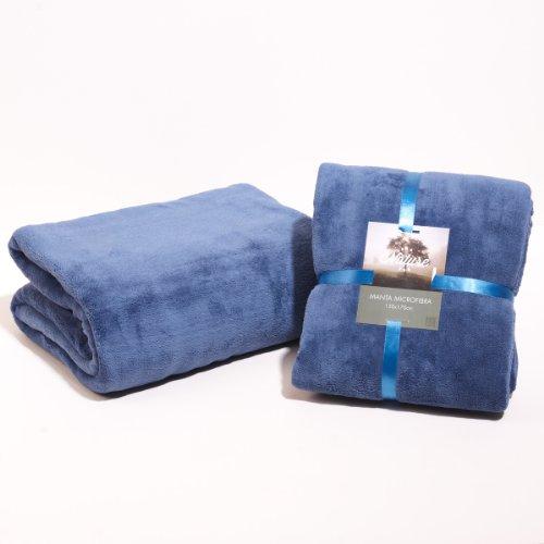 Sancarlos - Manta lisa microfibra, Azul, Cama de 135, Tamaño 220x240 cm