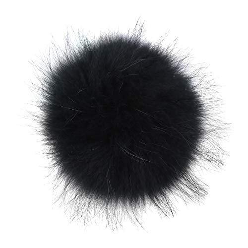 SUPVOX Faux Fur Fluffy Pompom with Snap Fastener DIY Knitting Accessories for Hats Beanies Shoes Scarves Bag Charms (Dark Green)