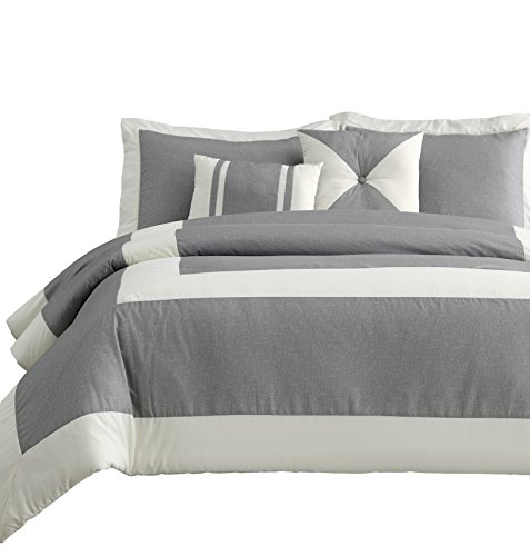 Chaz 4pc Twin Size Comforter Set Print Square Pattern Down Alternative Bedding Ivory Stripe with | Light Grey Background Bed Cover Set