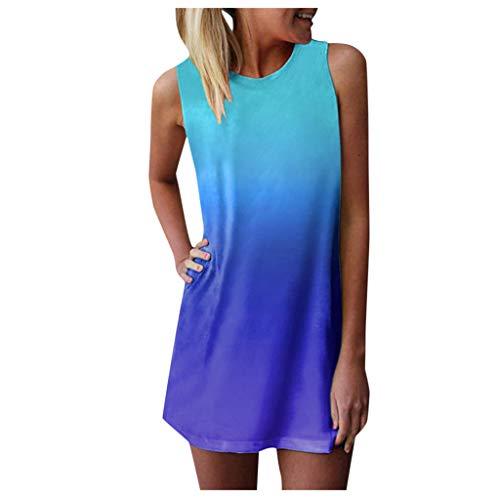 riou Vestido Mujer Bohemio Camiseta Suelto Casual Tie-Dye Vestido Mini sin Mangas Cuello Redondo Vestido Playeros
