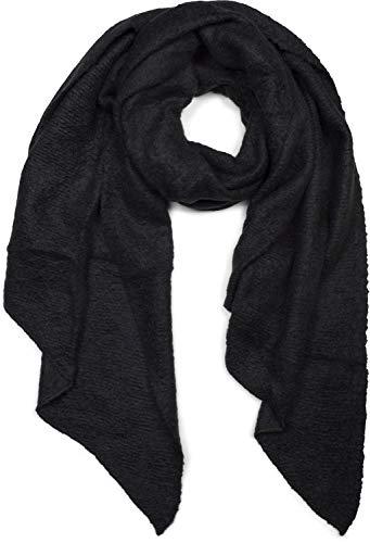 styleBREAKER Damen weicher unifarbener Web Schal in asymmetrischer Form, Winter, Stola 01017118, Farbe:Schwarz