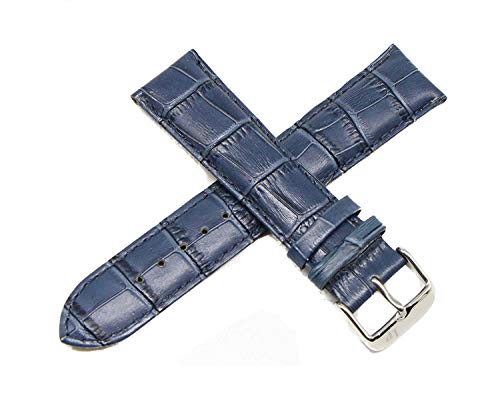 Lucien Piccard 22MM Alligator Grain Genuine Leather Watch Strap Band 8 Inches Blue with Silver LP Buckle