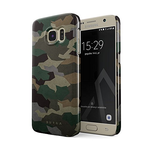 BURGA Hülle Kompatibel mit Samsung Galaxy S7 Handy Huelle Tropical Military Armee Grün Camo Camouflage Tarnung Dünn, Robuste Rückschale aus Kunststoff Handyhülle Schutz Case Cover