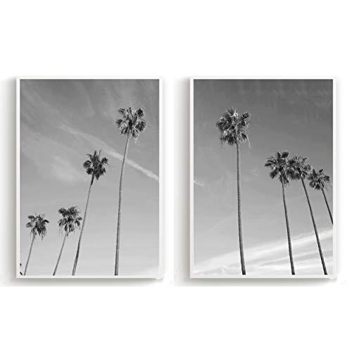 Flanacom Design Poster 2er Set A3 Schwarz Weiß - hochwertiger Kunstdruck auf Hochglanz Premiumpapier - Bilder Skandinavisch - Moderne Deko Wohnung - Motiv 2 Strand Palmen (27 x 42 cm)