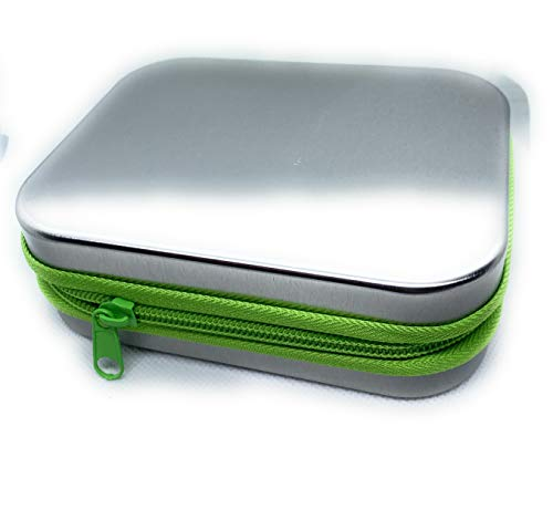 Perfekto24 - Caja metálica cuadrada con tapa, 14 x 11 x 4 cm, rectangular, vacía, color blanco, caja de almacenamiento, lata de chapa, uso universal