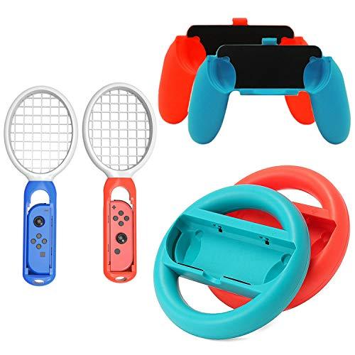 3 paar Stuurwiel Tennisracket Handvatten Handvat Kit Compatibel met Nintendo Switch NS Joy-Con Controllers Accessoires Rood Blauw