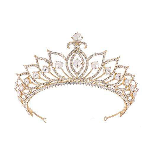 1pc corona hueca aleación rhinestone corona elegante tocado para novia mujer niña...