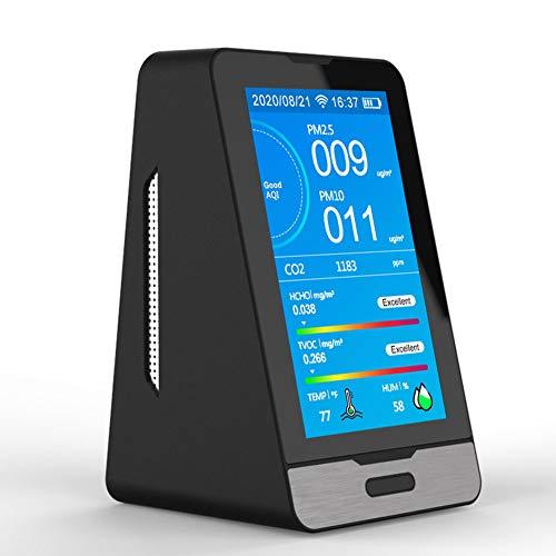 SXHYL Luftqualität Messgerät Kohlendioxid CO2 Detektor 400-5000 PPM TOC PM2,5 PM1,0 PM10 Detektor Temperatur Luftfeuchtigkeit Anzeige WiFi Handy-Verbindung Mit Datenspeicherfunktion
