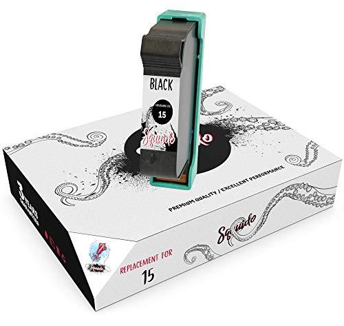 Squuido Remanufactured Cartucho de Tinta 15 Negro Compatible con HP PSC 2120 700 720 750 760 900 950 Officejet 5110 V30 V40 V45 Deskjet 3810 3820 815c 916c 920c 940c 948c | Alto Rendimiento