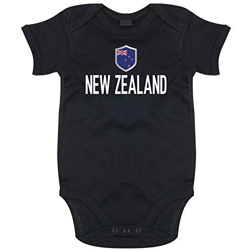 FanShirts4u Länder Baby Body - NEUSEELAND NEW ZEALAND - inkl. Druck Name & Nummer WM Trikot (3-6 Monate, Schwarz/NEW ZEALAND)