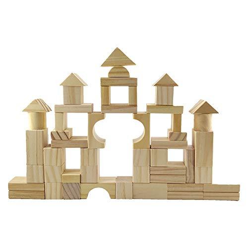 CaoQuanBaiHuoDian Kinder Bausteine  100 Holzbausteine Set Spielzeug for Kinder Über 3 Jahre Alte Kinder Lernspielzeug (Farbe : Beige, Size : Free Size)