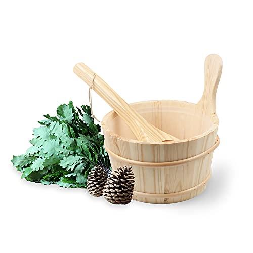 Bader Wellness® Set completo per sauna (vaso da 4 litri) – Secchio per sauna in legno naturale – Accessori per...