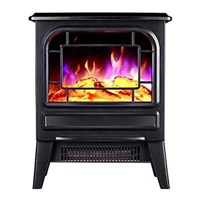 Electric Fireplace Heater with 3D Flame Effect, 2 Heat Modes, 2000W Ultra Strong Power, 3D Realistic Flame, Overheat Protection, Free Standing Fireplace Stove Heater