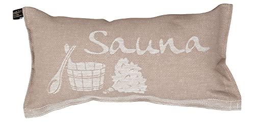 Jokipiin | 1 Saunakissen Lieblingskissen Reisekissen | Design: Sauna, beige/weiß | Maße: 40 x 22 cm, Leinen/Baumwolle | hergestellt in Finnland